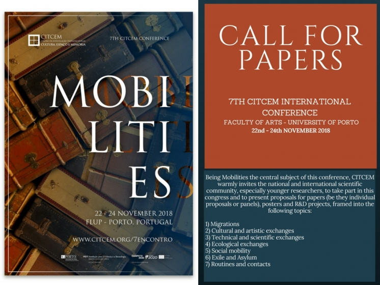 CfP: 7TH CITCEM INTERNATIONAL CONFERENCE - MOBILITIES (Porto, FLUP, 22-24 November 2018)